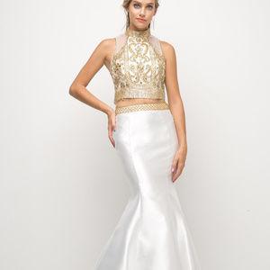 Beaded Bodice 2 Piece Mermaid Gown CD84016